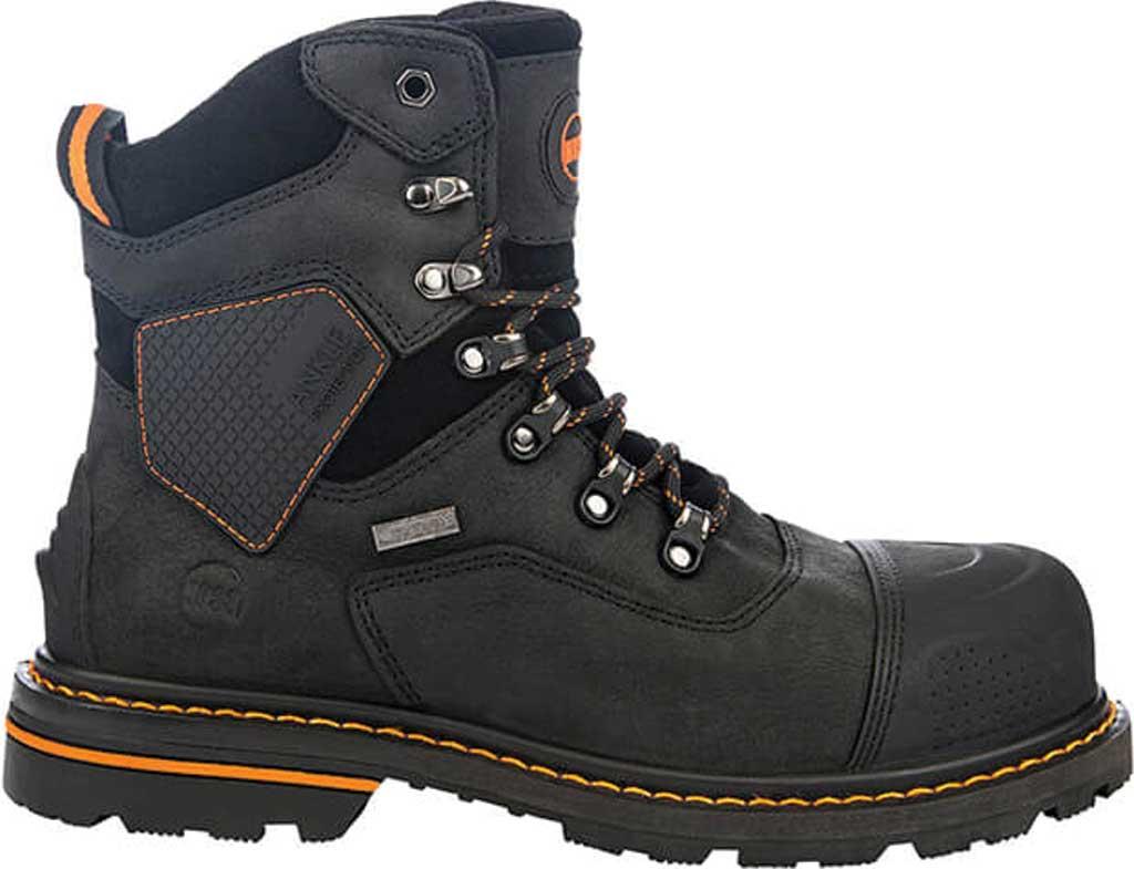 "Men's Hoss Boots Range 6"" Waterproof Composite Toe Boot, Black Full Grain River Bison Leather, large, image 2"