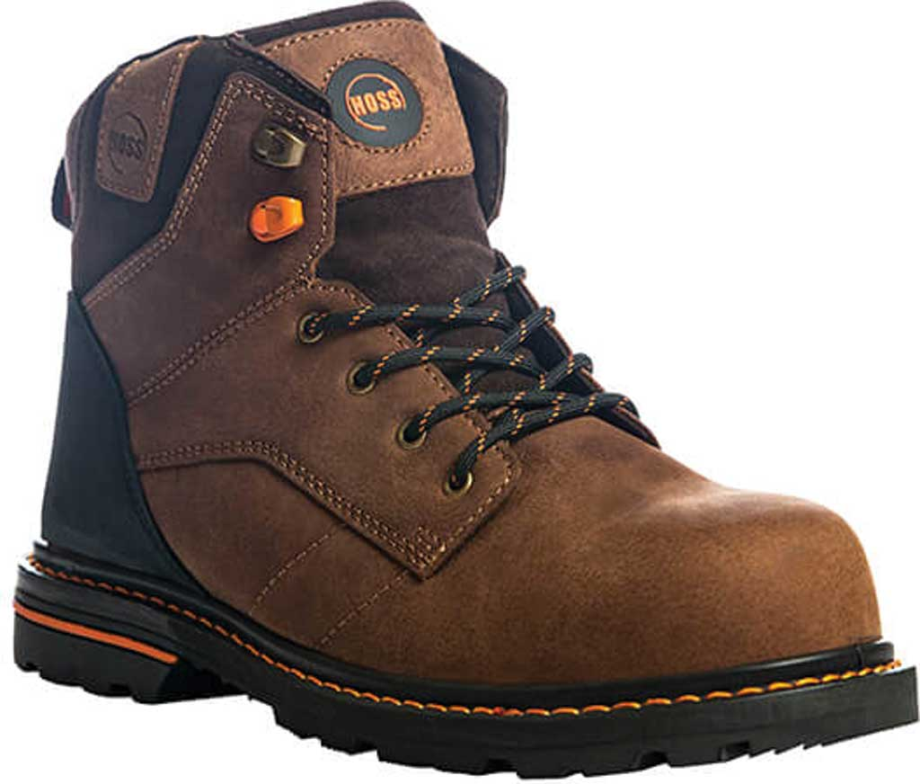 """Men's Hoss Boots Carson 6"""" Soft Toe Work Boot, Brown Full Grain Tumbled Success Leather, large, image 1"""