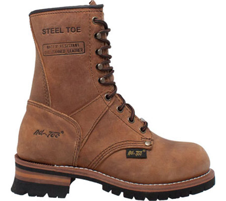 """Women's AdTec 2426 9"""" Steel Toe Logger Boot, Brown Leather, large, image 2"""