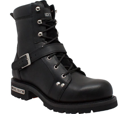 "Men's Ride Tecs 9146 8"" Zipper Lace Boot, Black Leather, large, image 1"