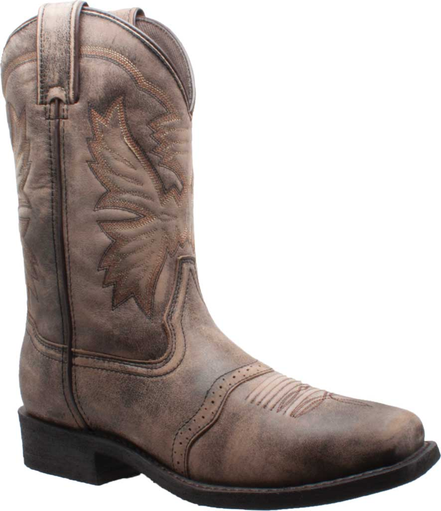 """Men's AdTec 1554 11"""" Square Toe Stonewashed Western Boot, Brown Tumbled Leather, large, image 1"""