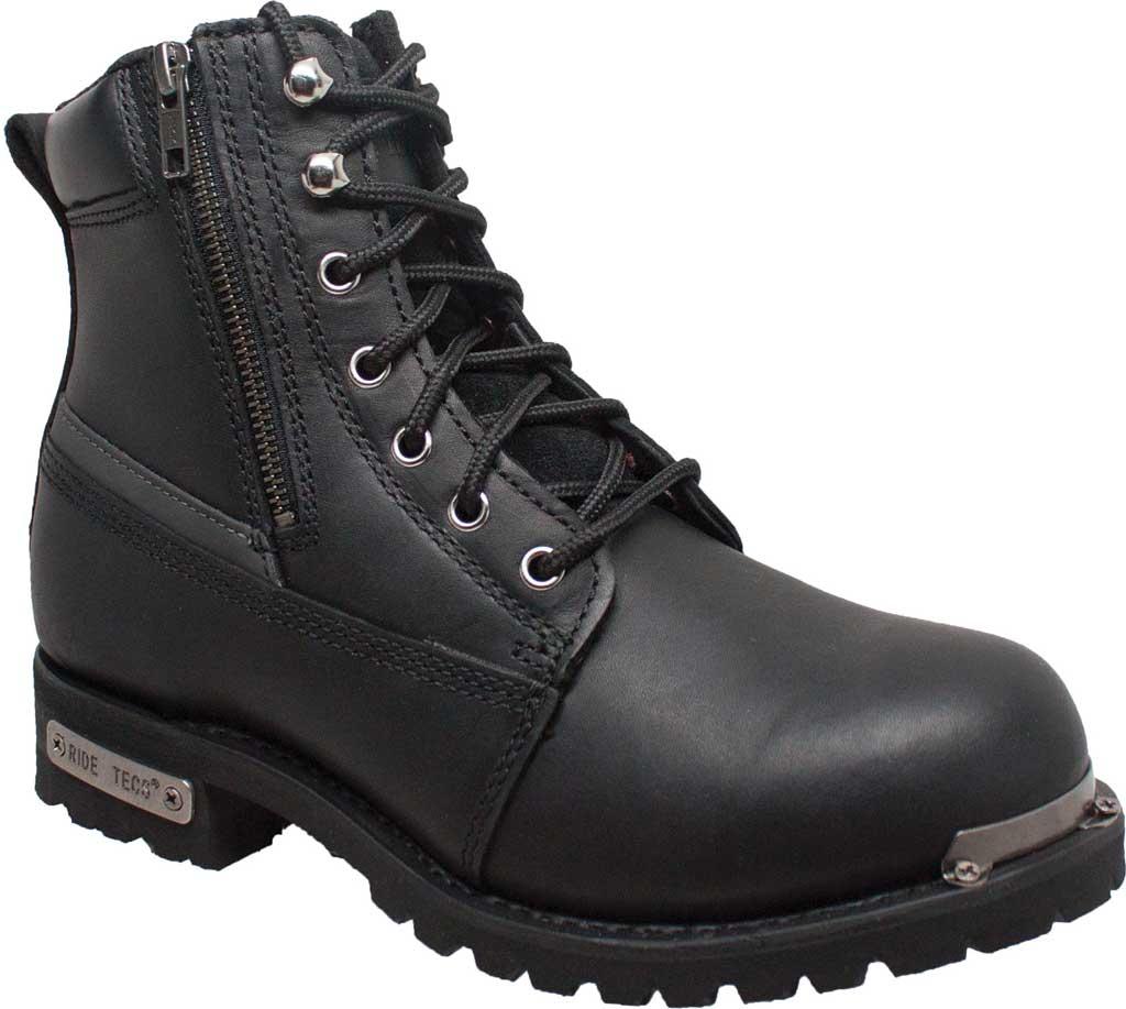 "Men's Ride Tecs 9797 6"" Reflective Double Zipper Biker Boot, Black Full Grain Leather, large, image 1"