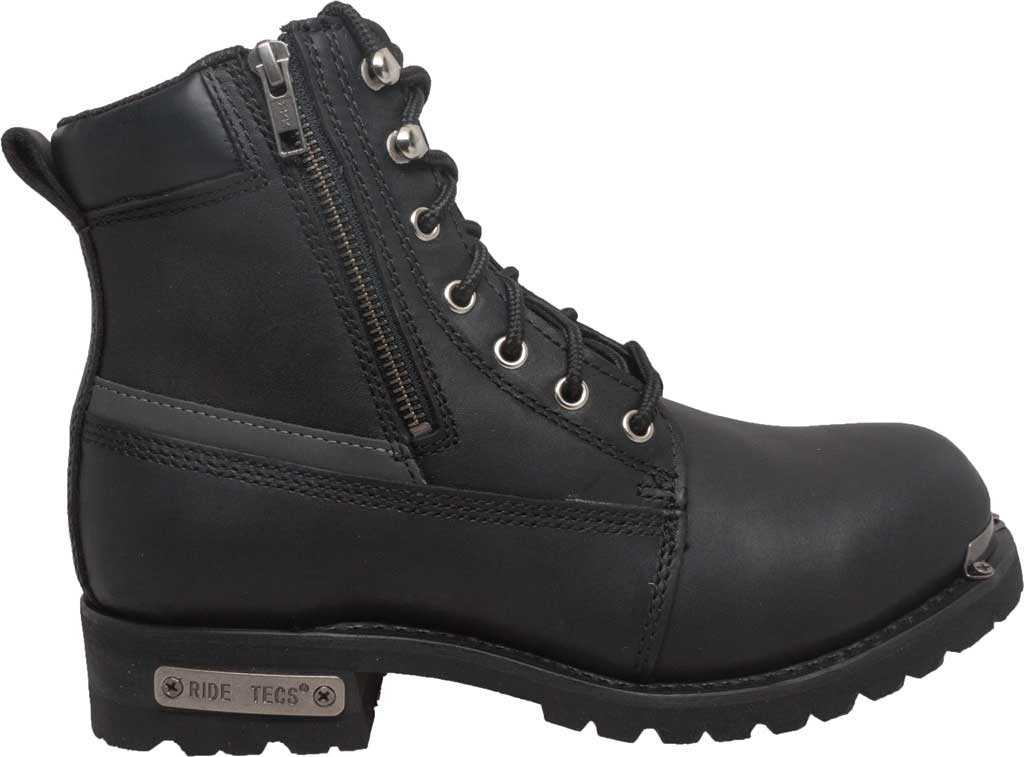 "Men's Ride Tecs 9797 6"" Reflective Double Zipper Biker Boot, Black Full Grain Leather, large, image 2"