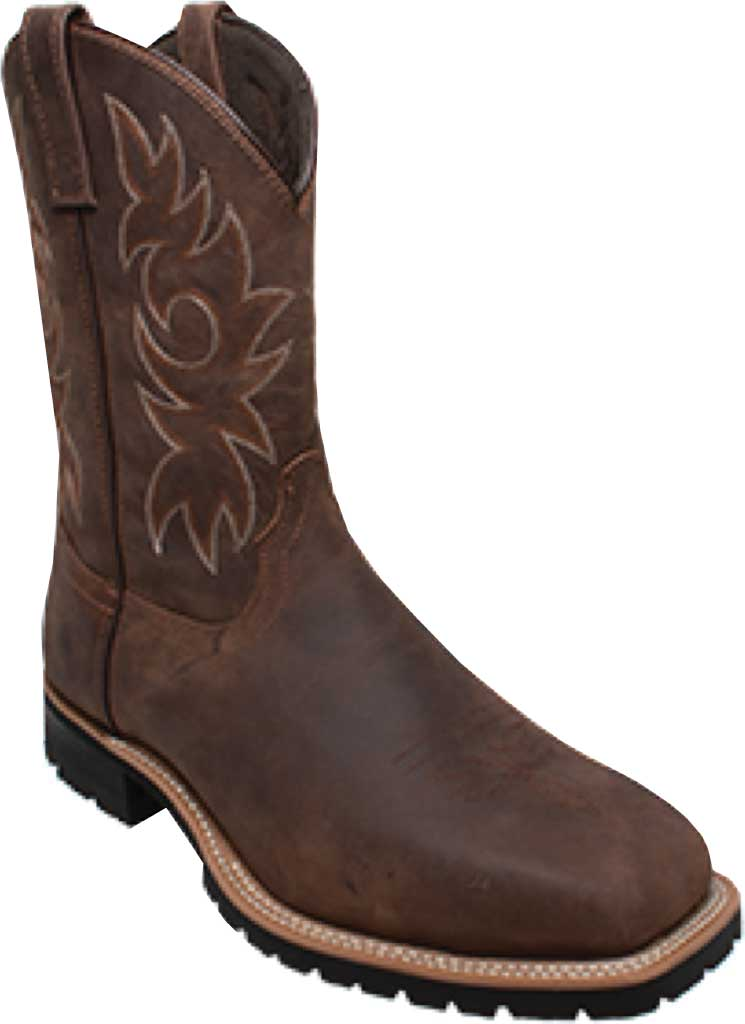 """Men's AdTec 9858 12"""" Steel Square Toe Western Work Boot, Brown Crazy Horse Leather, large, image 1"""