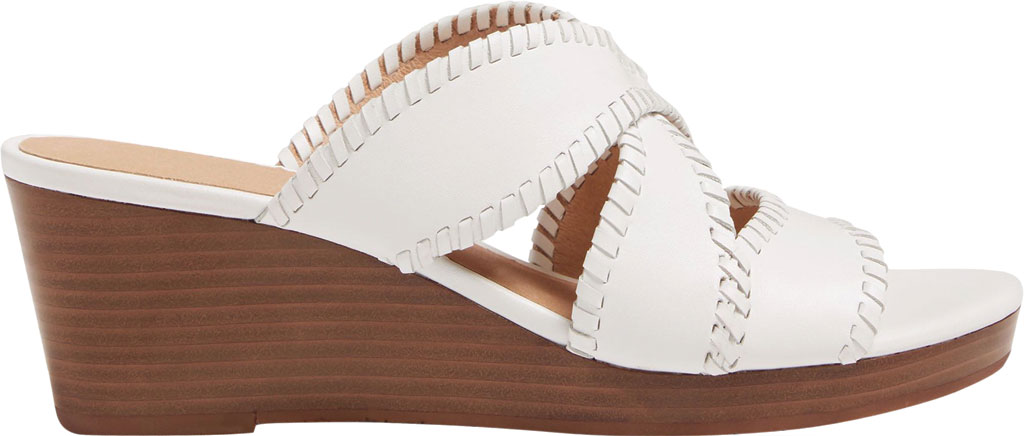 Women's Jack Rogers Jackie Mid Wedge Slide, White Leather, large, image 2