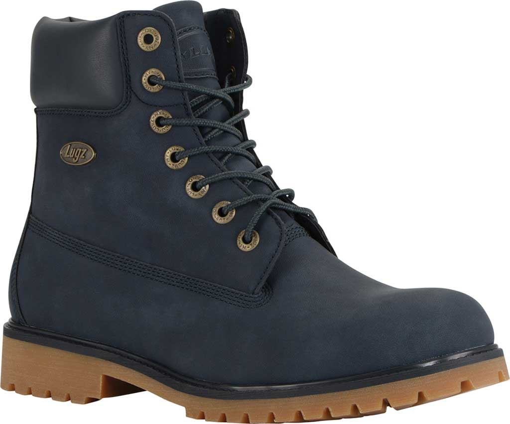 "Men's Lugz Convoy Water Resistant 6"" Work Boot, Navy/Gum Synthetic, large, image 1"