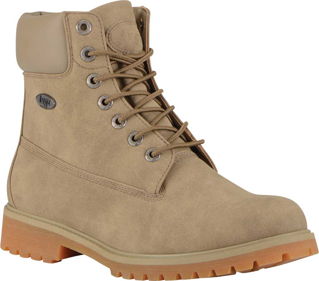 """Men's Lugz Convoy Water Resistant 6"""" Work Boot, Wet Sand/Gum Synthetic Suede, large, image 1"""
