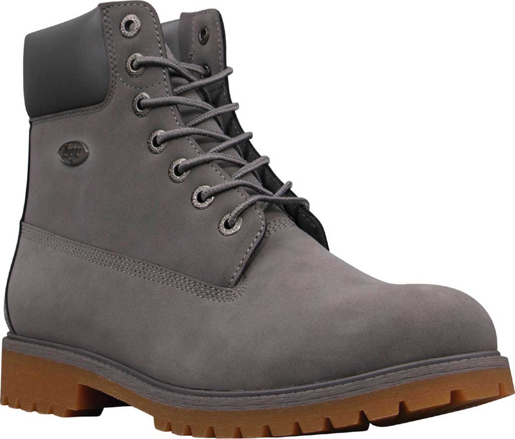 """Men's Lugz Convoy Water Resistant 6"""" Work Boot, Charcoal/Gum Thermabuck, large, image 1"""