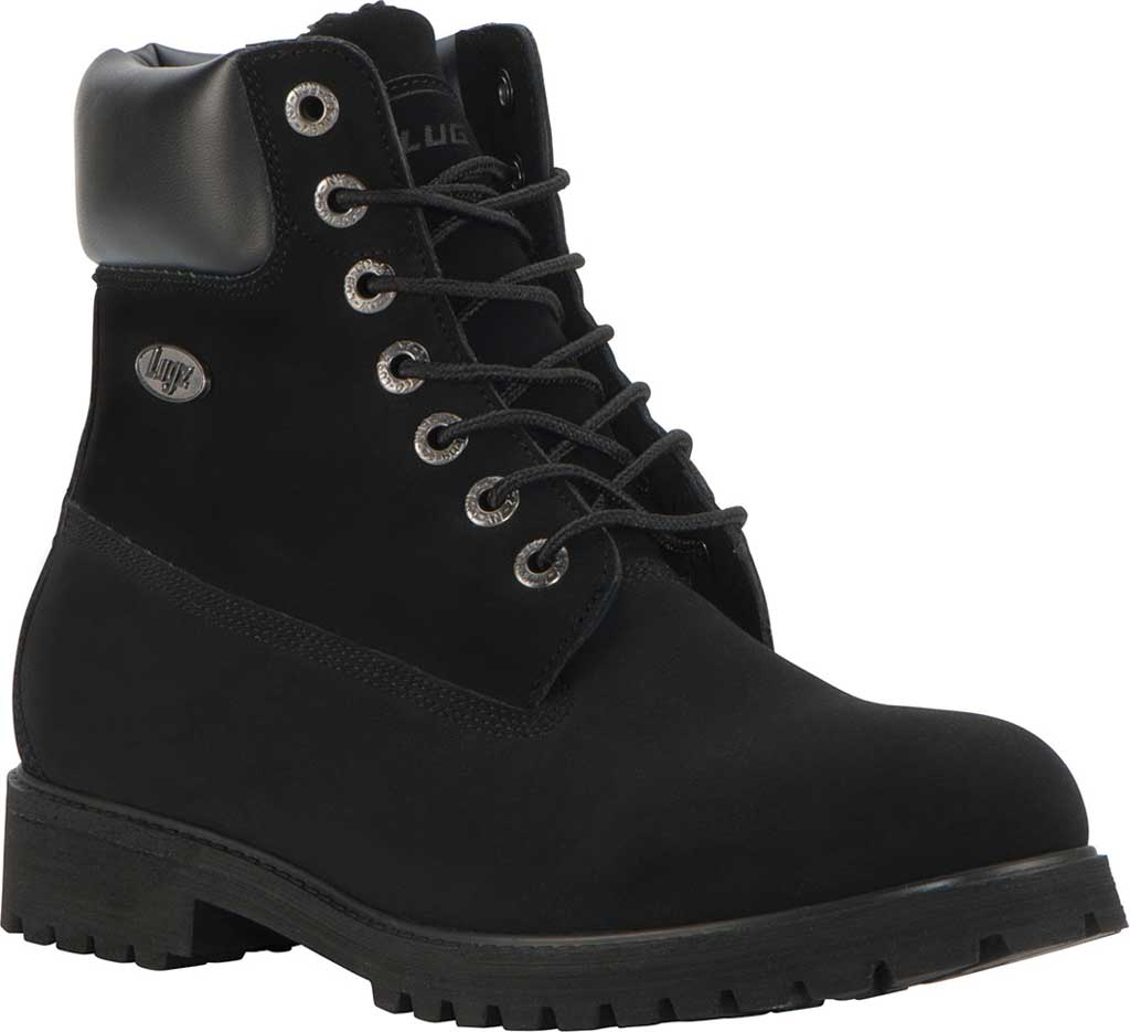 "Men's Lugz Convoy 6"" Boot, Black Synthetic Nubuck, large, image 1"