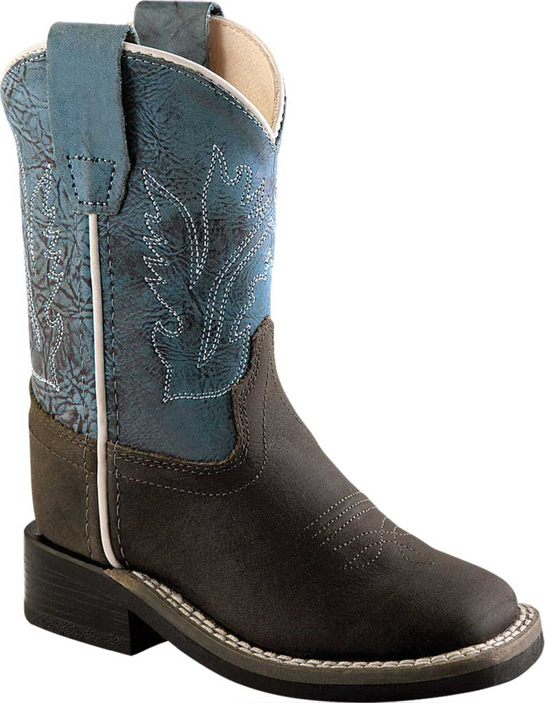Children's Old West Ultra Flex Broad Square Toe Cutout Boot Youth, Distressed/Snuffed Blue Leather, large, image 1