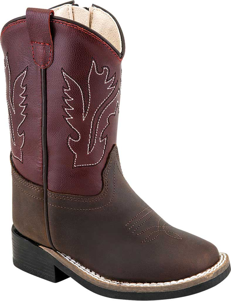 Children's Old West 11 Inch Broad Square Toe Leather Cowboy Boot, Brown/Red Calfskin, large, image 1