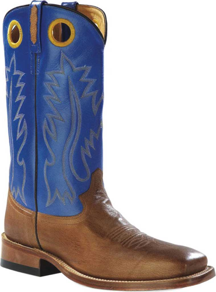 Men's Old West 13 Inch Broad Square Toe Cowboy Boot, Tan Canyon/Blue Leather, large, image 1