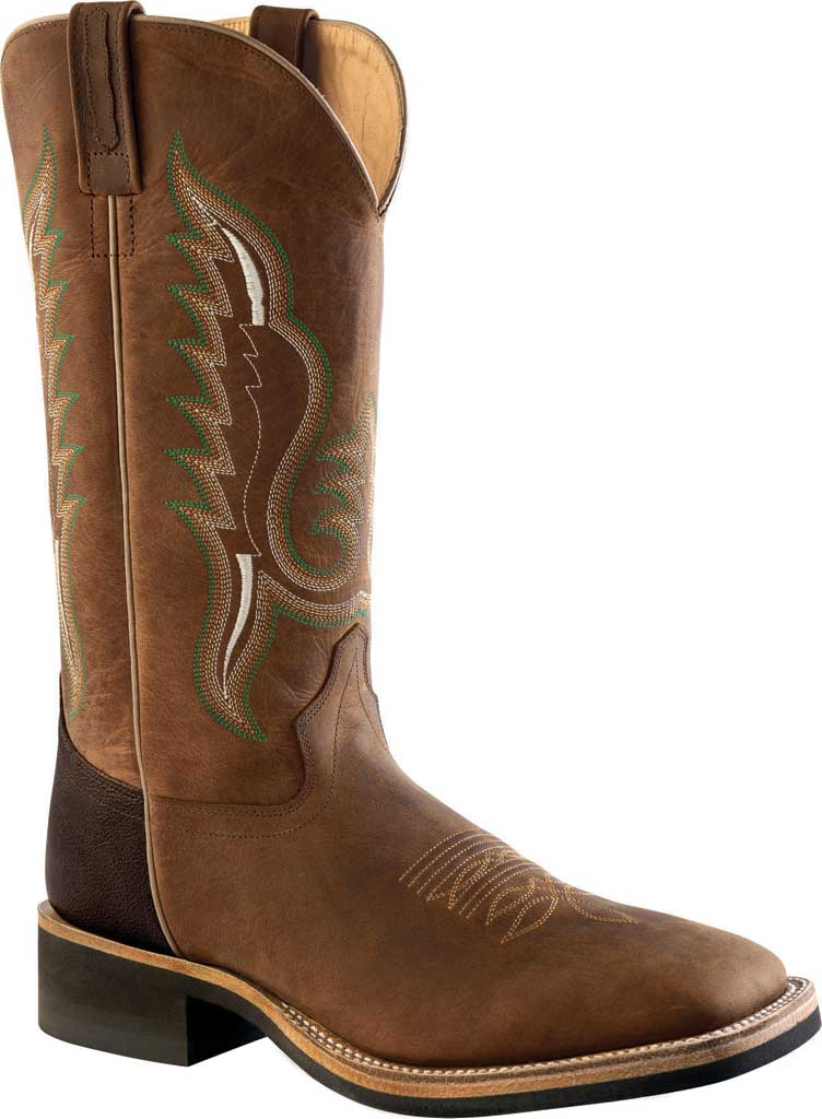 Men's Old West 13 Inch Broad Square Toe Cowboy Boot, Brown Oily/Brown Truffle Leather, large, image 1