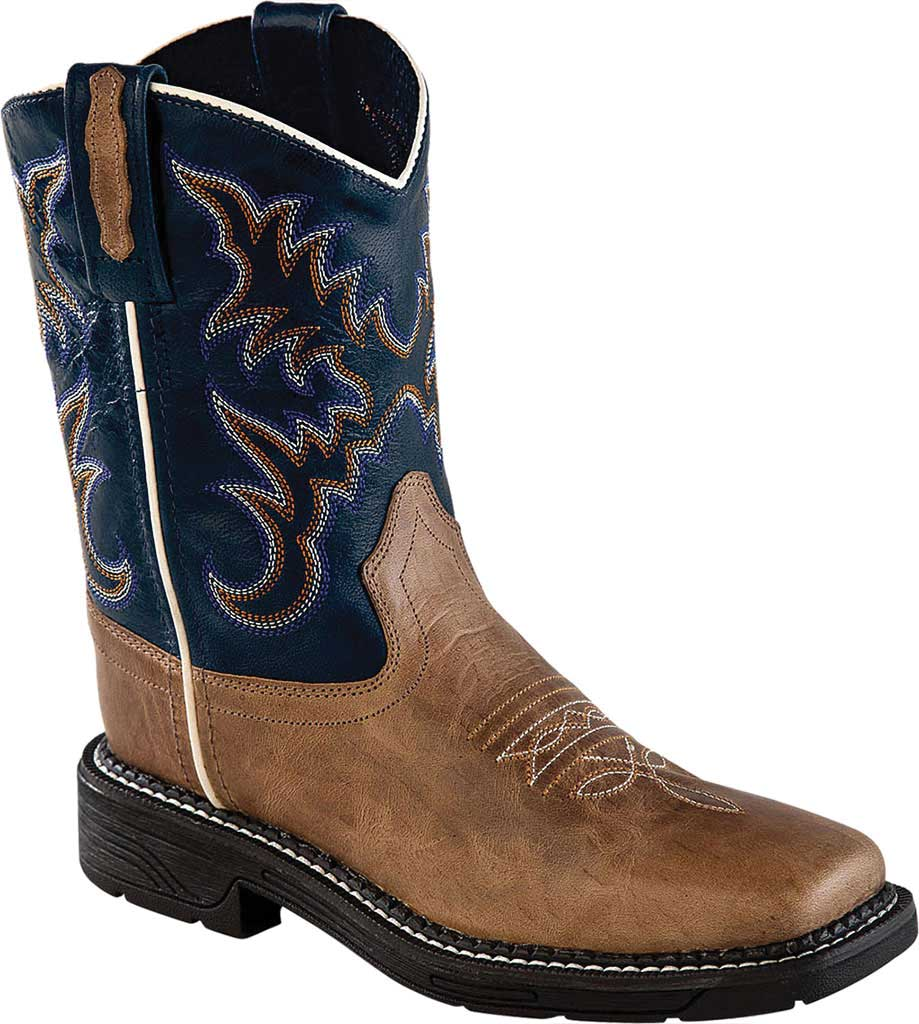 Children's Old West Square Toe Cowboy Boot - Youth, Tan Fry/Blue Crunch Leather, large, image 1