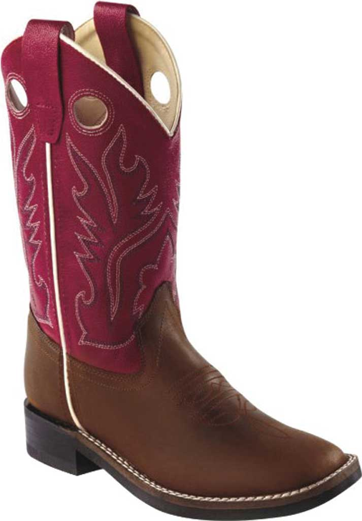 Children's Old West Ultra Flex Broad Square Toe Cutout Boot - Little, Light Distressed/Red Leather, large, image 1