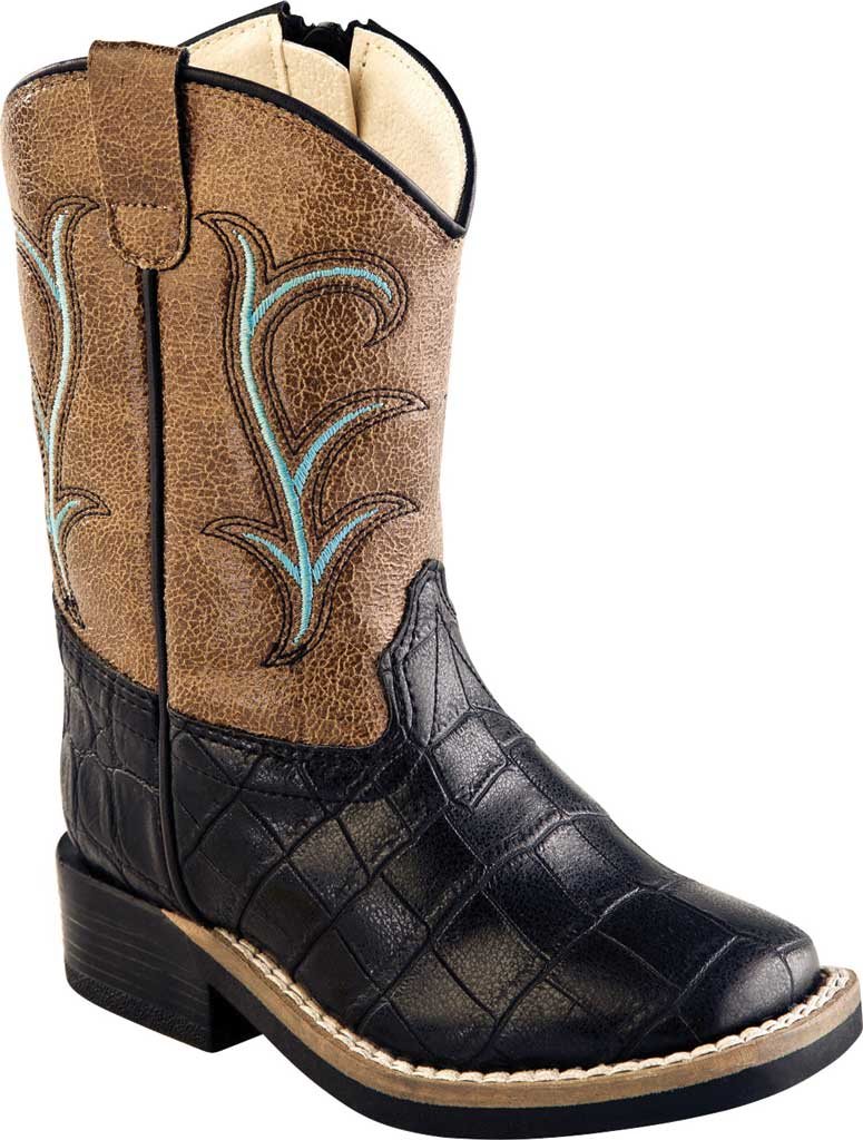 Infant Old West Broad Western Square Toe Boot - Toddler, Black Croco Print/Light Brown Crackle Synthetic, large, image 1