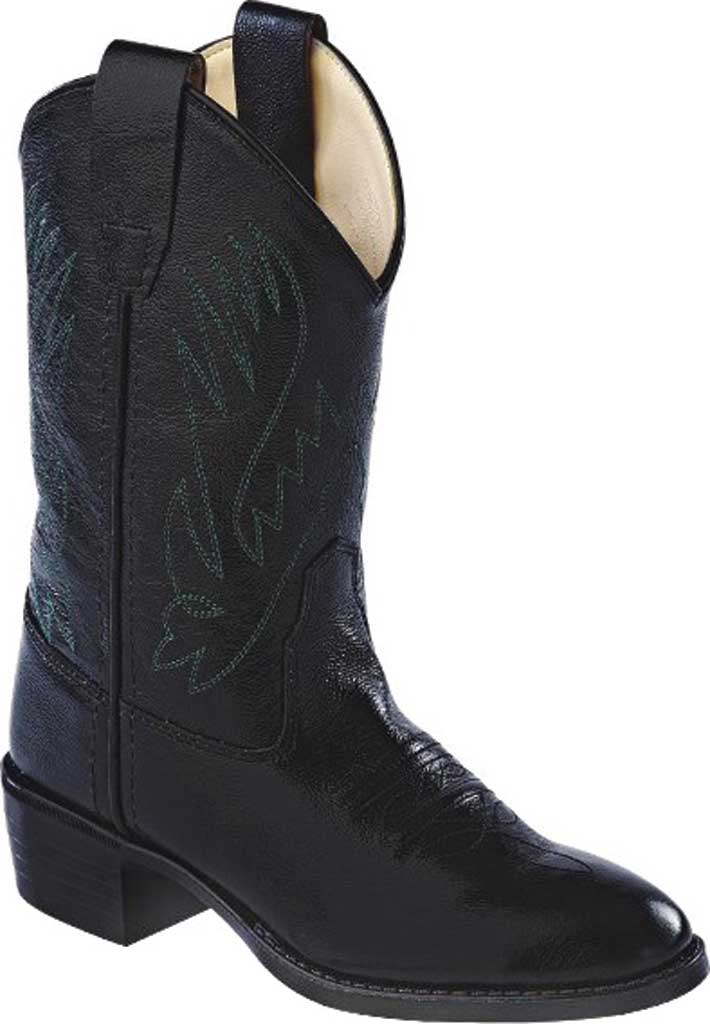 Children's Old West Round Toe Western Cowboy Boot - Child, Black Leather, large, image 1