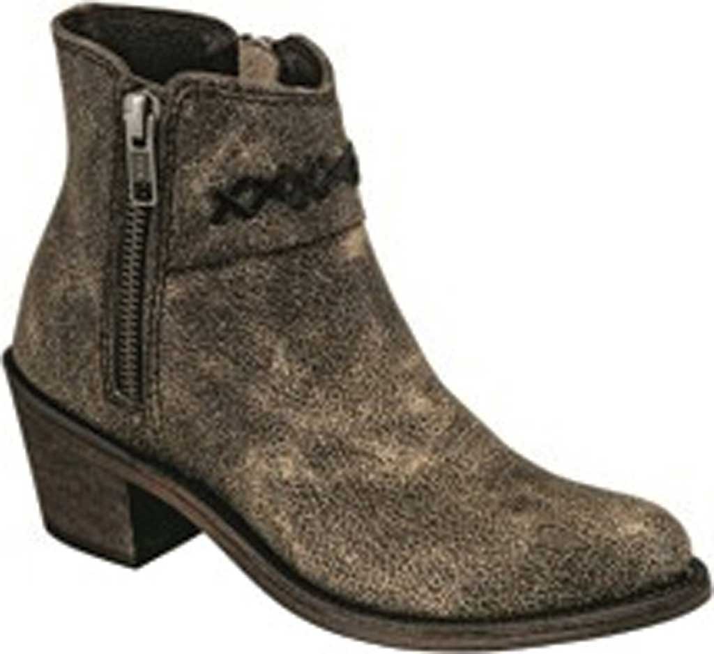 Girls' Old West Narrow Round Toe Fashion Ankle Bootie, Vintage Charcoal Leather, large, image 1