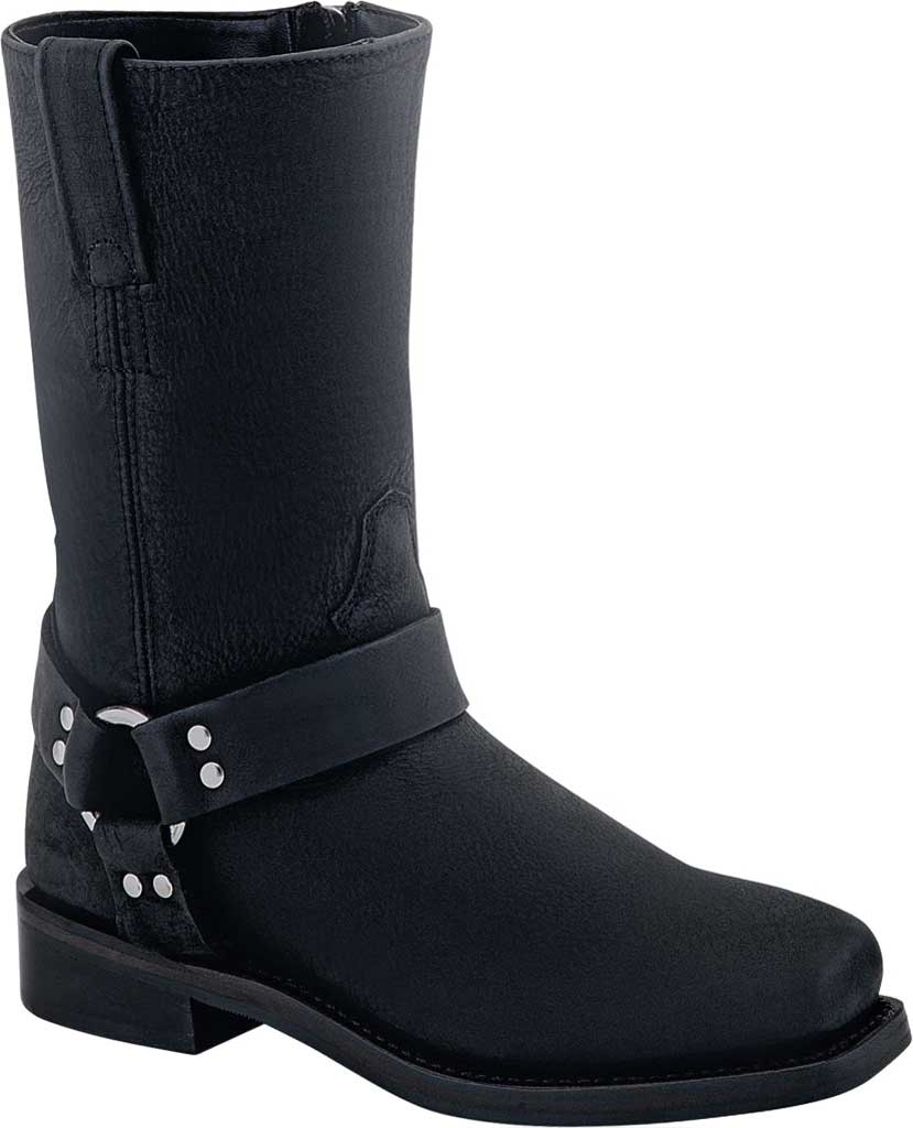 Girls' Old West Square Toe Harness Boot - Youth, Distressed Black Leather, large, image 1