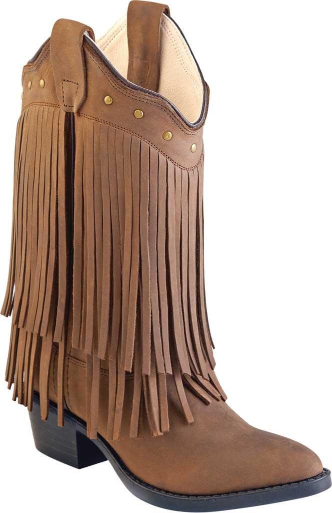 Children's Old West Narrow J Toe Boot with Fringe - Child, Chocolate Nubuck, large, image 1
