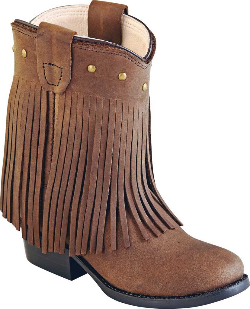 Infant Old West Round Toe Fringe Toddler Western Cowboy Boot, Chocolate Nubuck, large, image 1