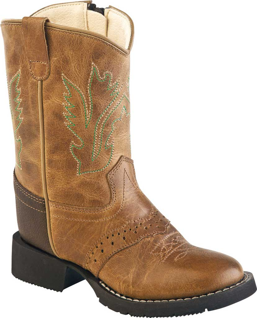 Infant Old West Round Toe Comfort Wear Cowboy Boot - Toddler, Tan Fry/Brown Tumble Leather, large, image 1