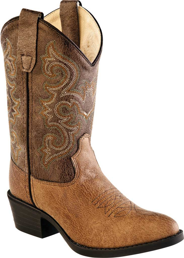 Children's Old West All Over J Toe Cowboy Boot, Tan Vintage/Brown Crackle Leather, large, image 1
