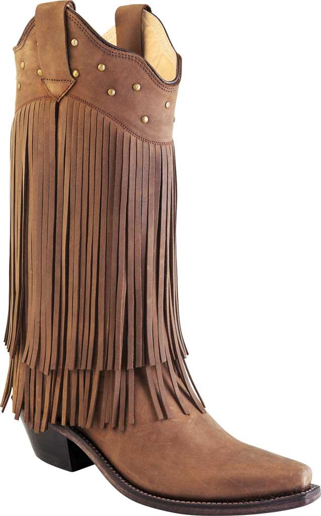 Women's Old West 12 Inch Snip Toe Fashion Wear Fringe Cowboy Boot, Chocolate Nubuck, large, image 1