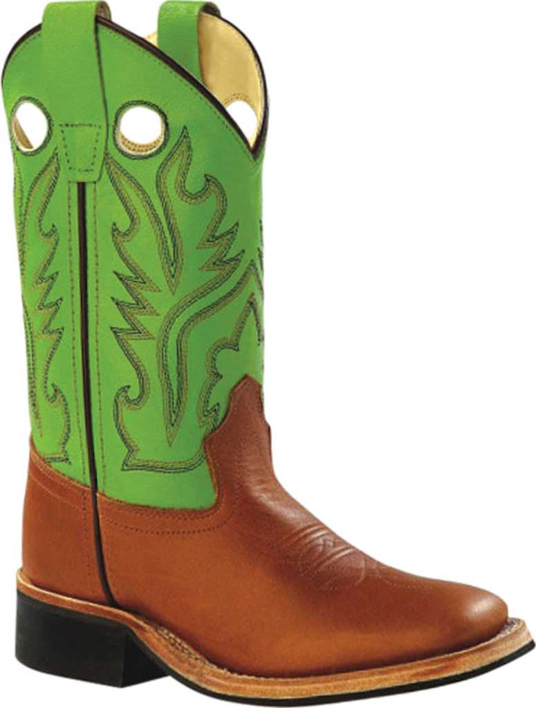 Children's Old West 11 Inch Broad Square Toe Hand Corded Cowboy Boot, Sandra/Lime Green Calfskin, large, image 1