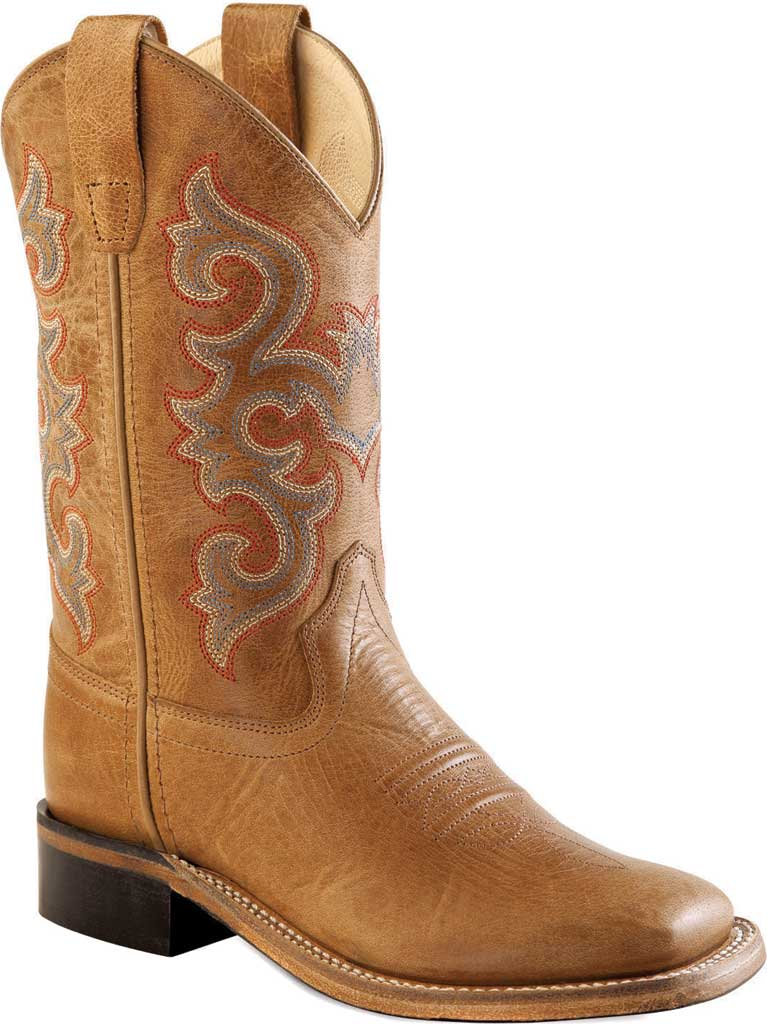 Children's Old West 9 Inch Broad Square Toe Goodyear Welt Cowboy Boot, Tan Fry Calfskin, large, image 1