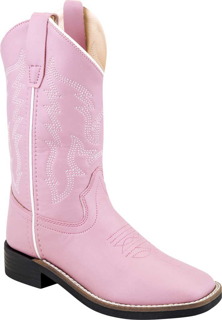 """Children's Old West 9"""" Broad Western Square Toe Boot - Child, Pink Synthetic, large, image 1"""