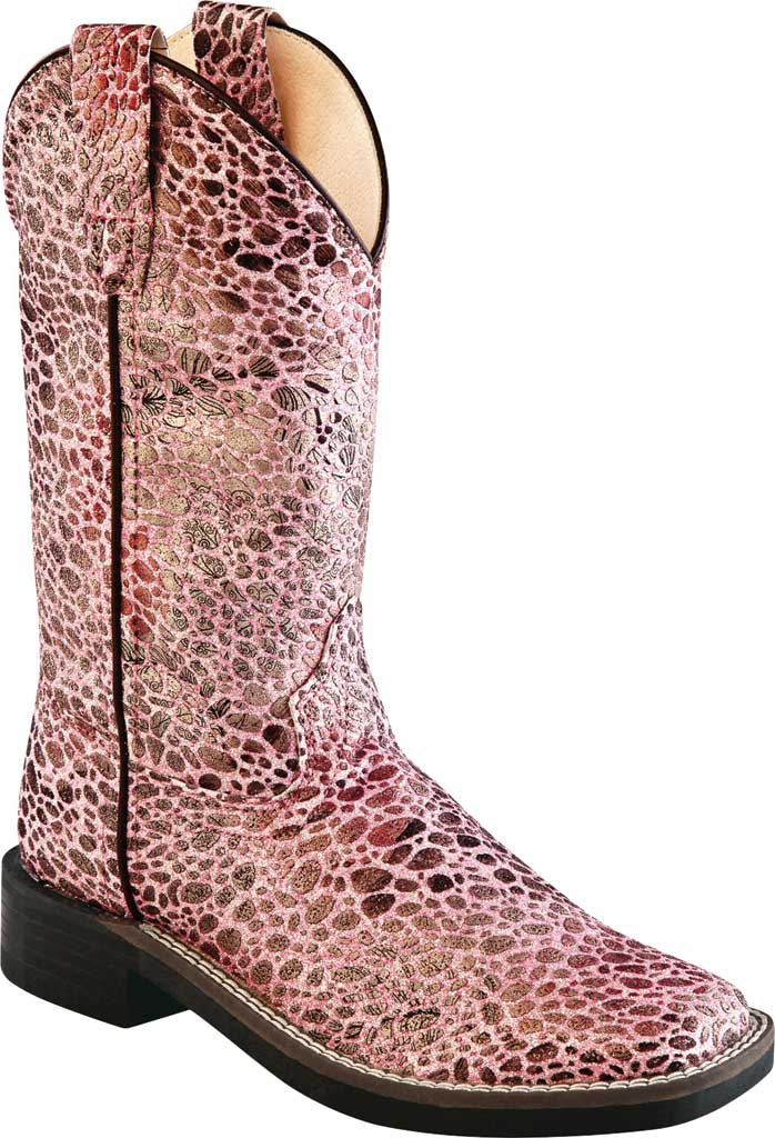 """Children's Old West 9"""" Broad Western Square Toe Boot - Child, Antique Pink Synthetic, large, image 1"""