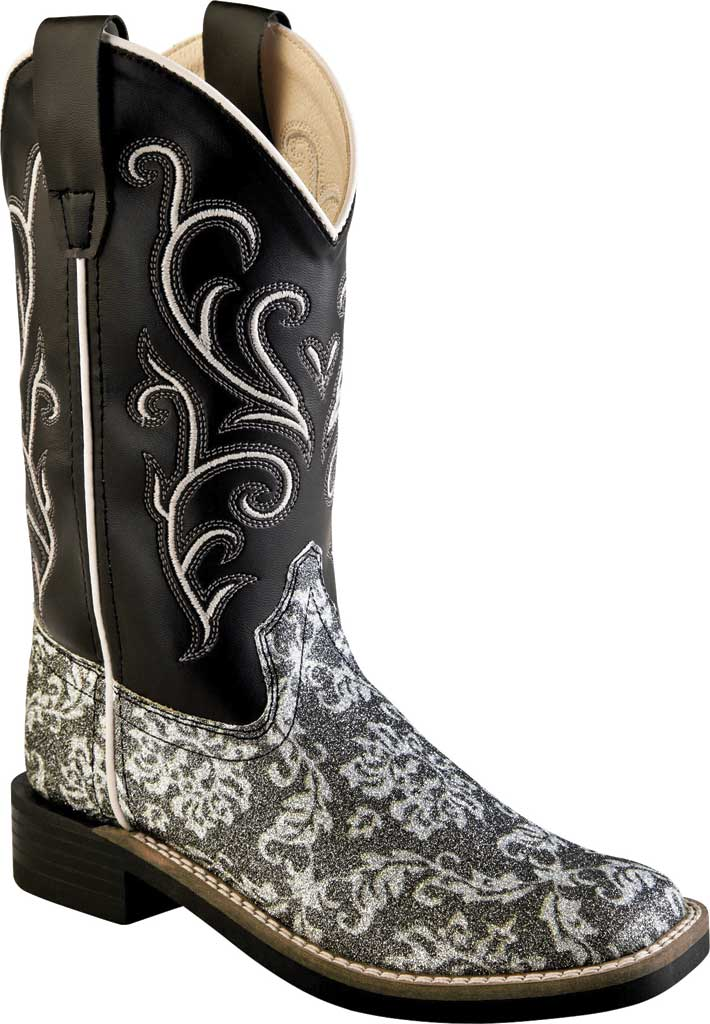 """Children's Old West 9"""" Broad Western Square Toe Boot - Child, Charcoal Grey Flower Leatherette, large, image 1"""