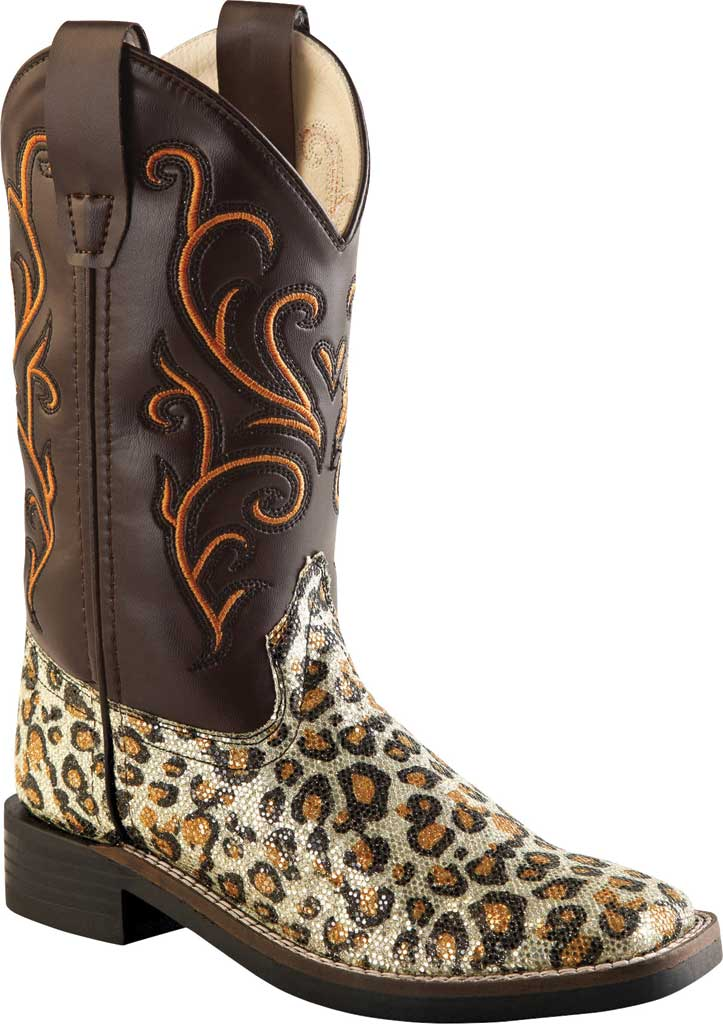 """Children's Old West 9"""" Broad Western Square Toe Boot - Child, Leopard Print Leatherette, large, image 1"""