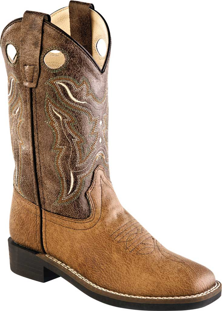 """Children's Old West 9"""" Broad Western Square Toe Boot - Child, Tan Vintage/Brown Crackle Synthetic, large, image 1"""