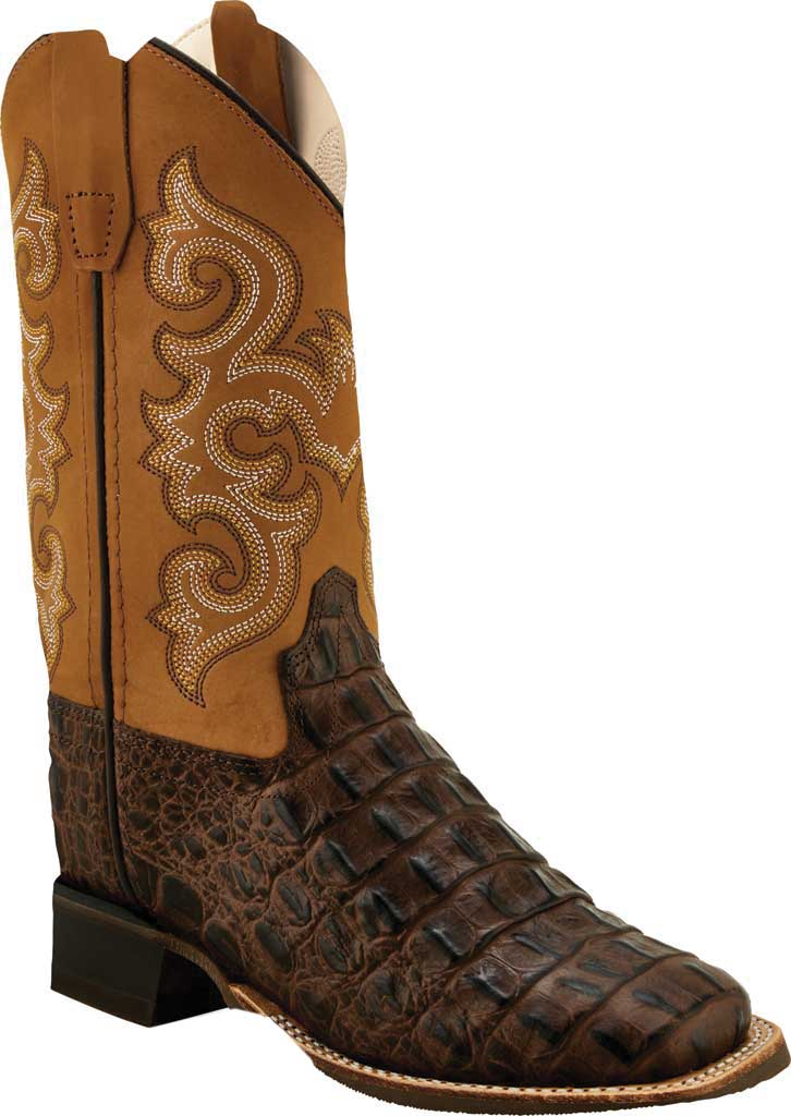 Children's Old West Faux Hornback Print Western Boot Rubber Sole, Brown Faux Horn Back Gator/Tan Canyon Leather, large, image 1