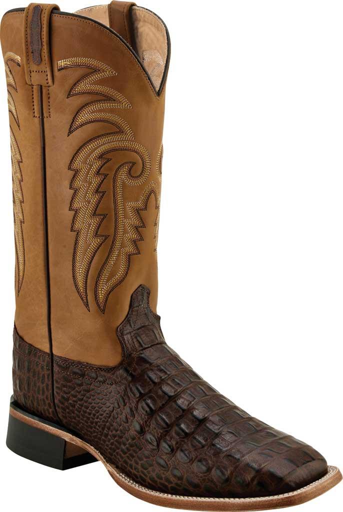 Men's Old West Faux Horn Back Gator Print Western Boot, Brown Faux Horn Back Gator/Tan Canyon Leather, large, image 1