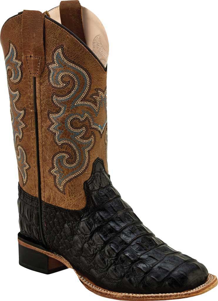 Children's Old West Faux Horn Back Gator Print Western Boot, Black Faux Horn Back Gator/Tan Fry Leather, large, image 1