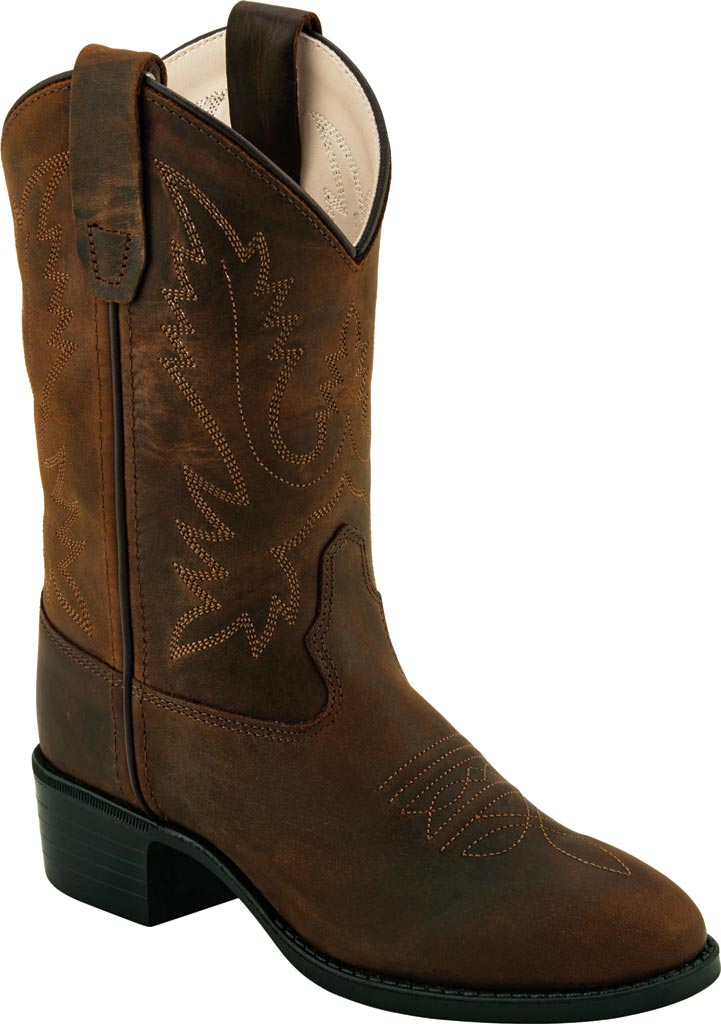 Children's Old West Round Toe Western Boot - Youth, Brown Leather, large, image 1