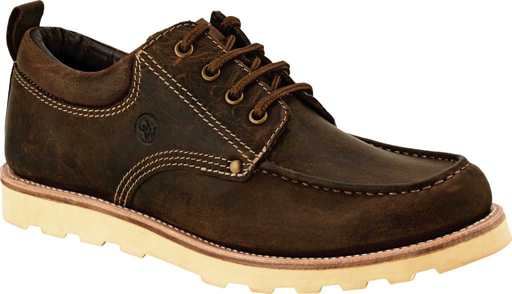 Men's Old West Low Lace Up Outdoor Oxford, Brown Leather, large, image 1