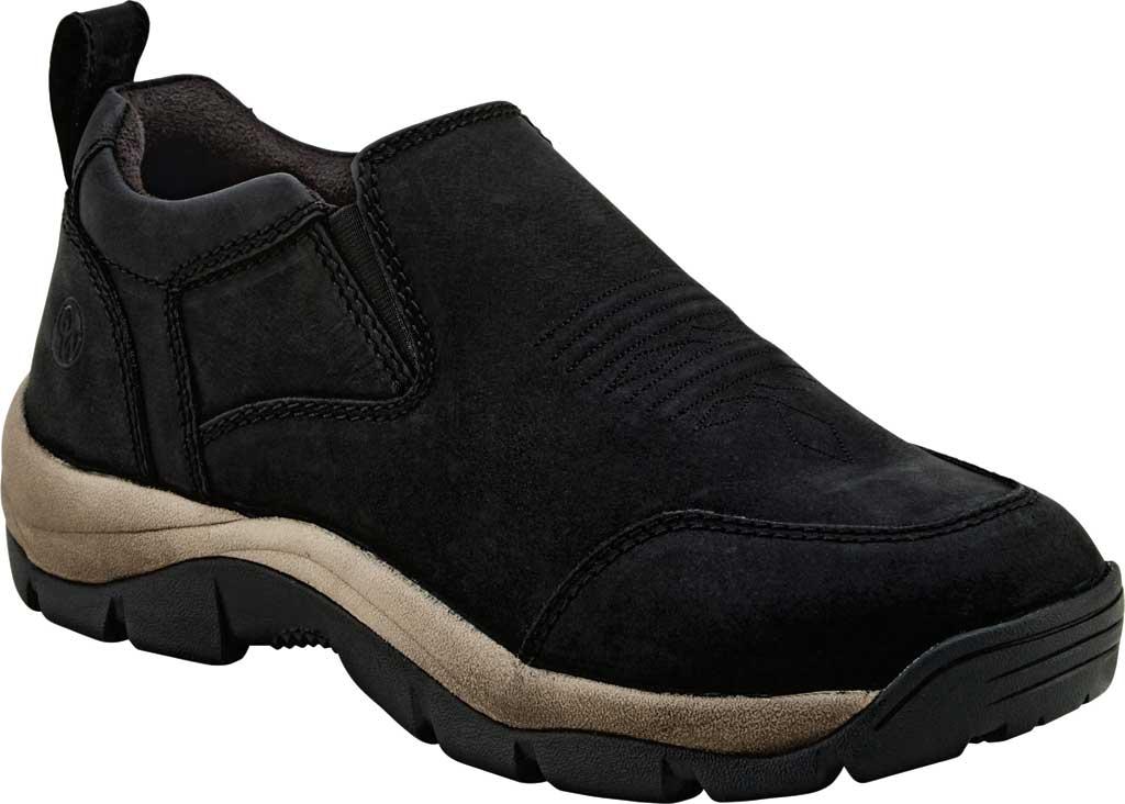 Men's Old West 3 Inch Slip On Work Shoe, Distress Black Leather, large, image 1