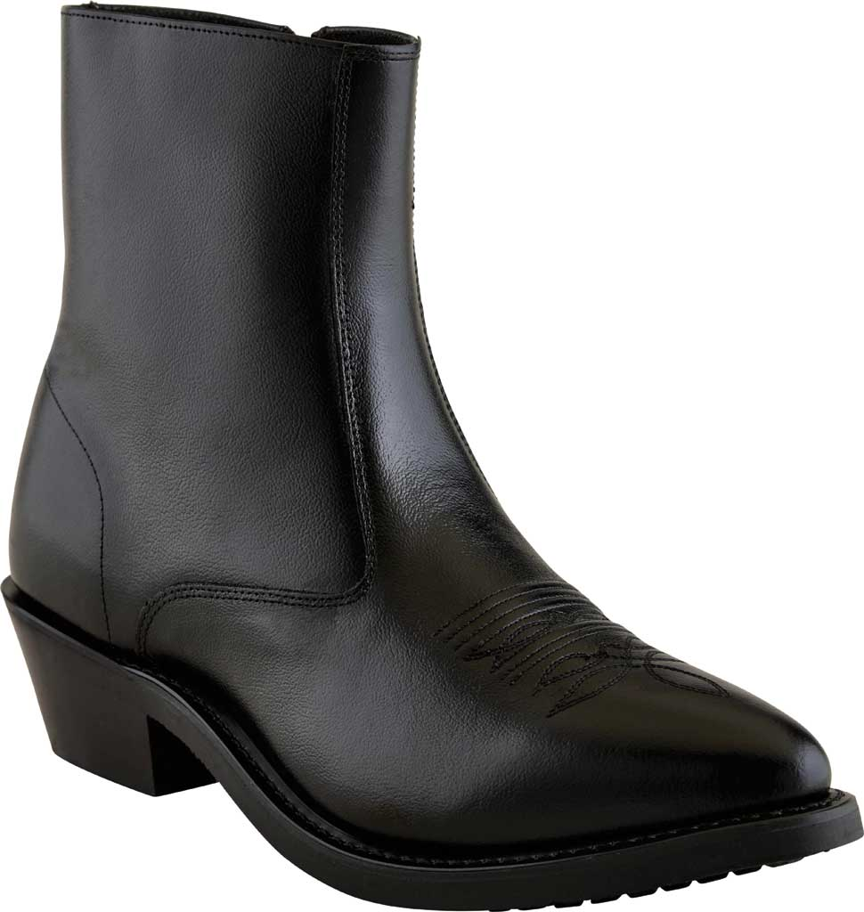 Men's Old West 7 Inch Narrow Round Toe Riding Ankle Boot, Black Leather, large, image 1