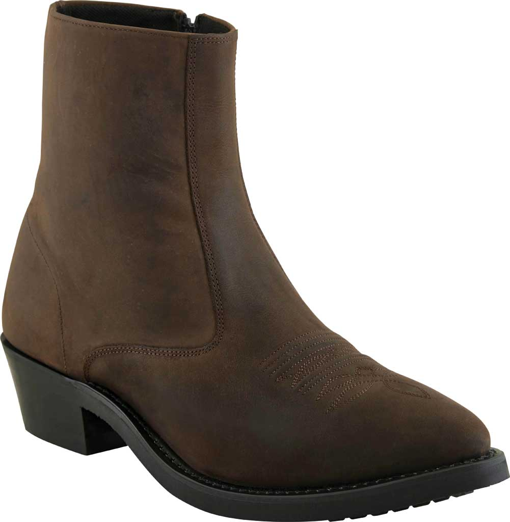 Men's Old West 7 Inch Narrow Round Toe Riding Ankle Boot, Brown Leather, large, image 1
