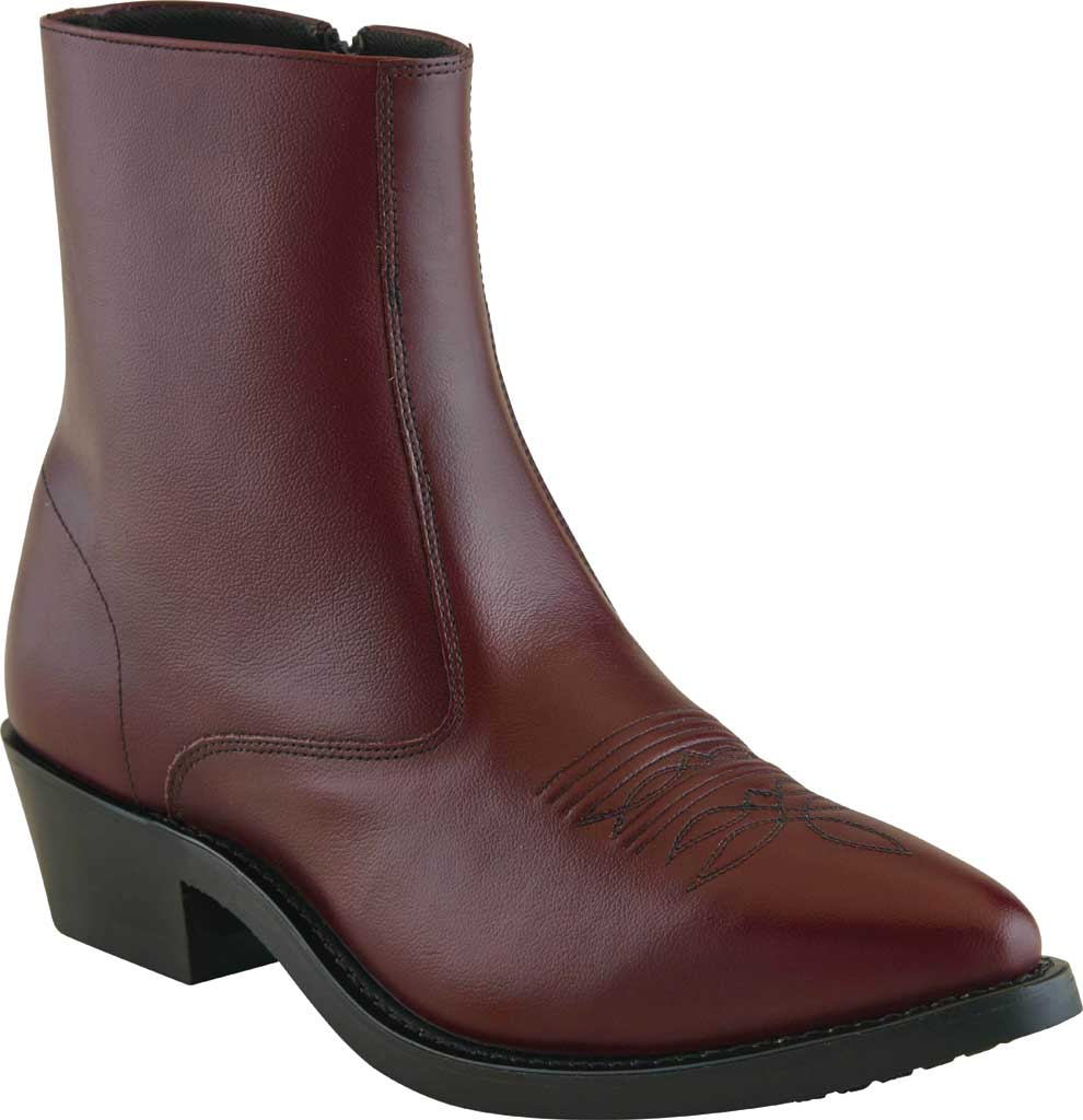 Men's Old West 7 Inch Narrow Round Toe Riding Ankle Boot, Black Cherry Leather, large, image 1