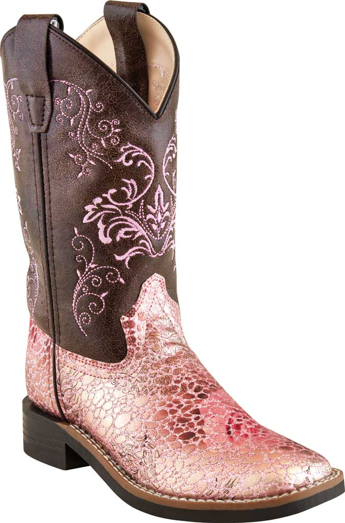 Girls' Old West 9 Inch Broad Square Toe Boot - Child, Antique Pink/Brown Crackle Leatherette, large, image 1