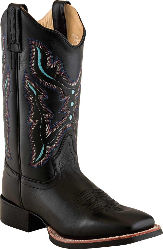 Women's Old West 11 Inch Broad Square Toe Boot, Black Leather, large, image 1