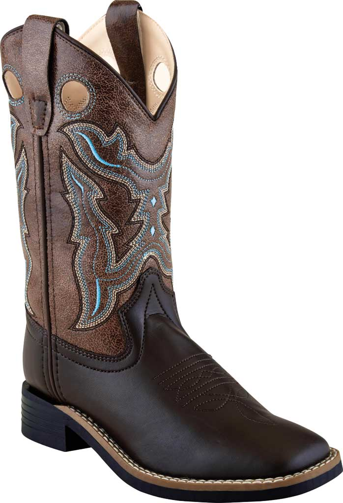 Boys' Old West 9 Inch Broad Square Toe Boot - Child, Brown/Brown Crackle Leatherette, large, image 1