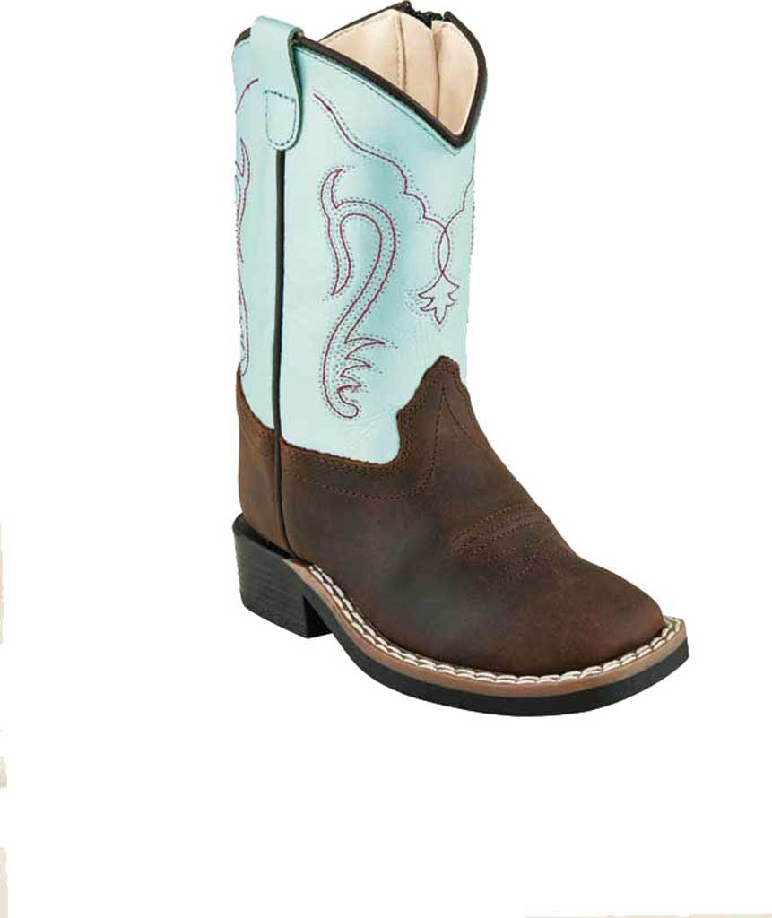 Children's Old West 11 Inch Broad Square Toe Boot - Youth, Brown/Silver Light Blue Leather, large, image 1
