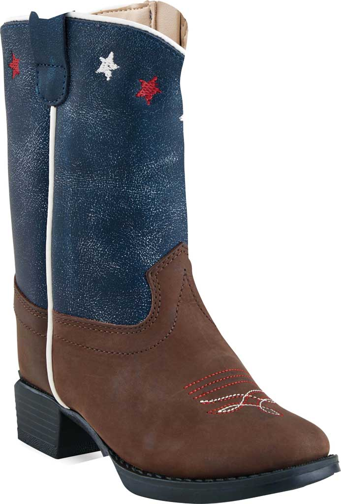 Infant Old West 6 Inch Round Toe Western Boot - Toddler, Brown/Blue Calf Leather, large, image 1