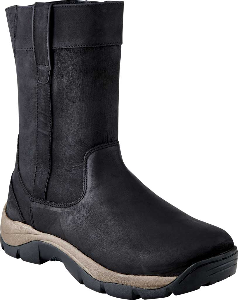 Men's Old West 9 Inch Casual Pull On Work Boot, Black Leather, large, image 1